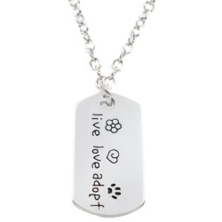 N53 Live Love Adopt Stamped Necklace