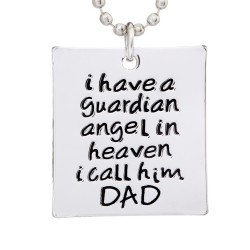 N68 Guardian Angel Dad Stamped Necklace