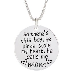 N73 Boy Stole My Heart Calls Me Mom Stamped Necklace