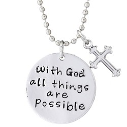 N76 With God All Things Possible Stamped Necklace