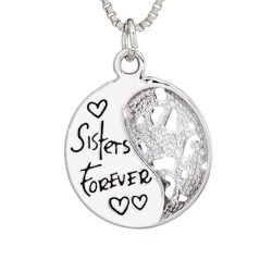 N77 Sisters Forever Back Stamped Necklace