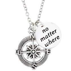 N80 No Matter Where Compass Stamped Necklace