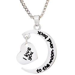 N91 Crescent Moon and Back Stamped Necklace