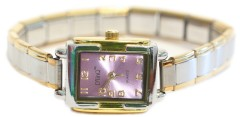 WG104lavender Lavender Rectangle Italian Charm Watch Gold Color Trim
