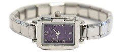 WW104purple Purple Rectangular Italian Charm Watch Silver Color Band
