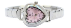 WW211white White Heart Italian Charm Watch Silver Color Band