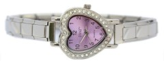 WW212lavender Lavender CZ Heart Italian Charm Watch Silver Color Band