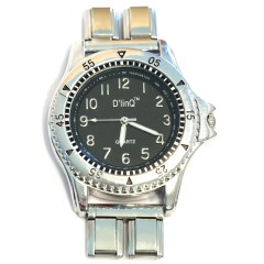WW213black Mega Round Black Italian Charm Watch Silver Color Band